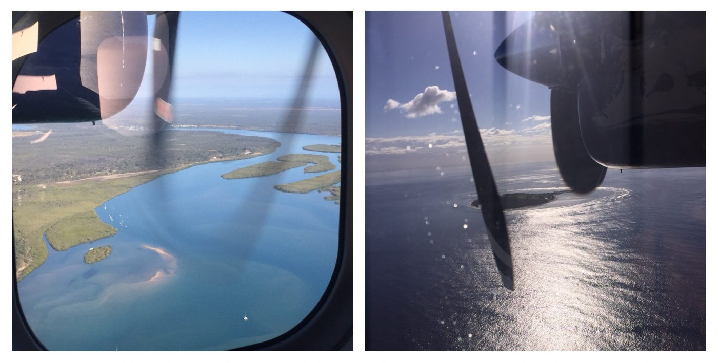 View from the plane of the Fraser Coast and Lady Elliot Island