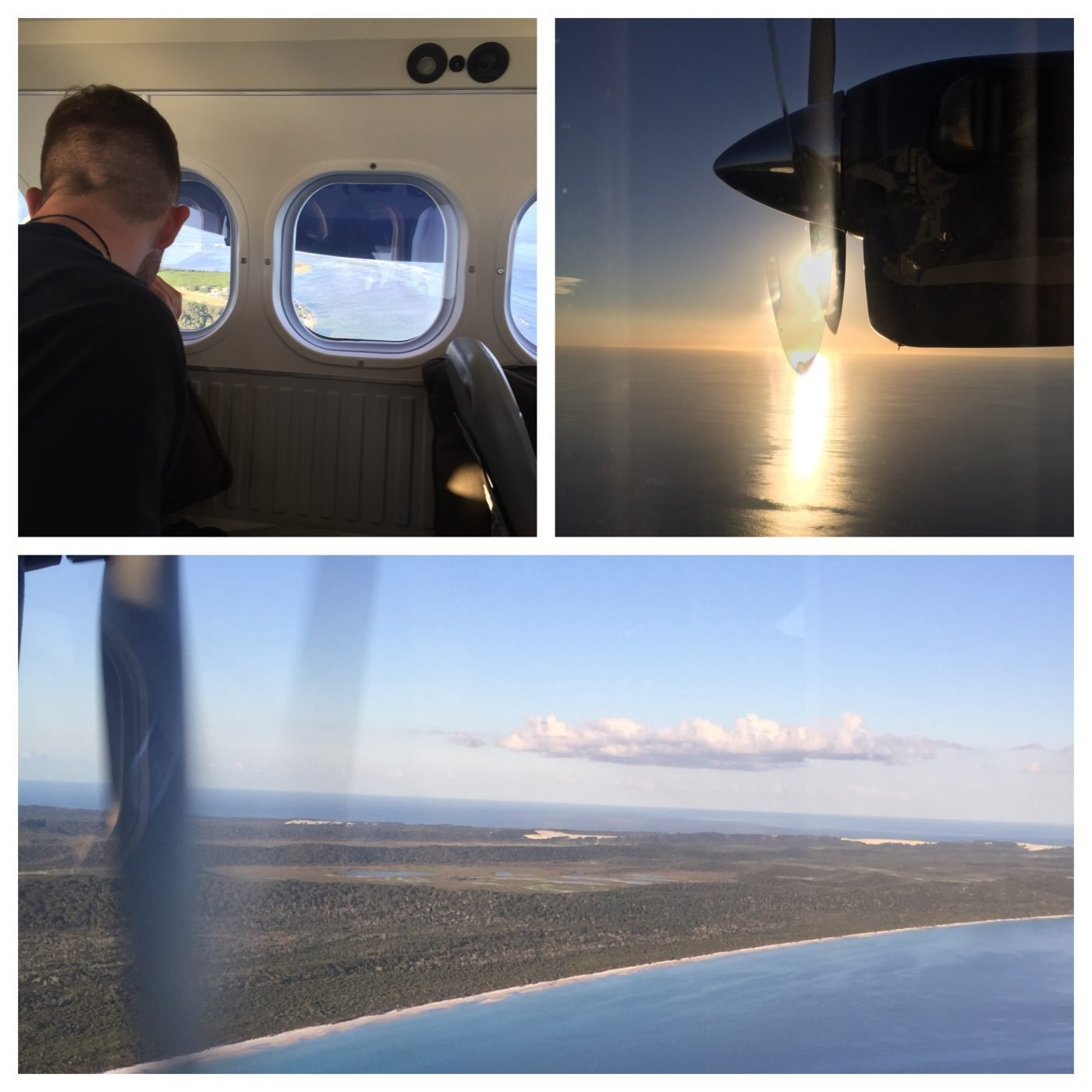 Flying over Fraser Island with the sun starting to set