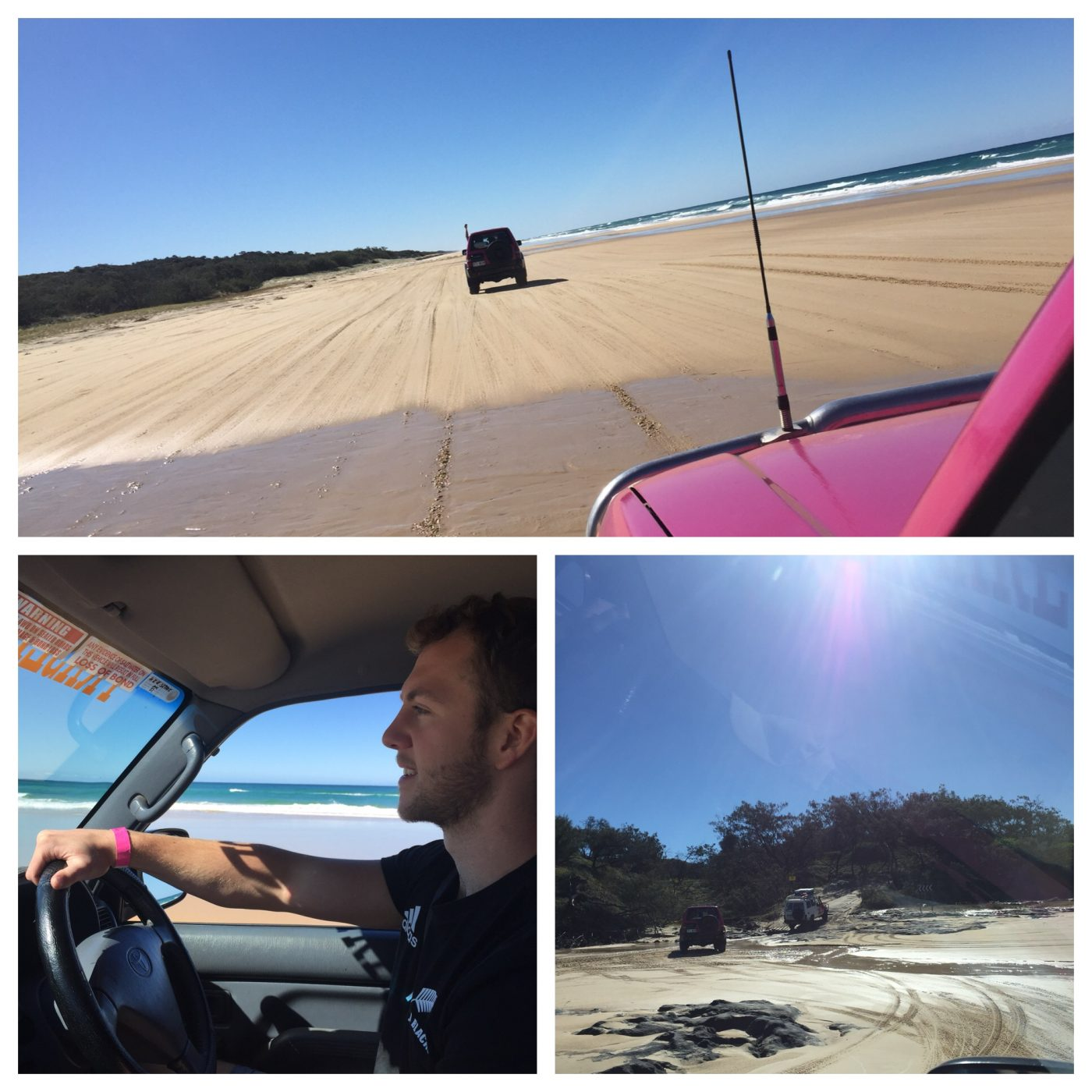 Driving along the beach in a 4x4
