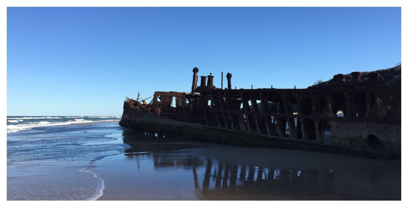 The shipwrecked SS Maheno